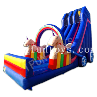 Inflatable Unicorn Carriage Dry Slide / Double Lane Slip Slide