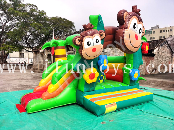 Monkey Jungle Inflatable Bouncy Castle Combo / Jumping House for Party
