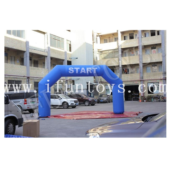 Racing Start Finish Inflatable Arch / Inflatable Race Arch Lines with Air Blower for Sport Event