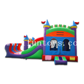 Dual Lane Combo Inflatable Water Slide Playground / Bouncy Castle Moonwalks for Kids