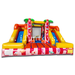Candy Theme Double Lanes Slide Inflatable Jumper House / Bouncer Slide Combo for Sale
