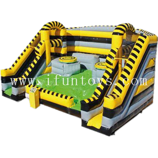 Giant inflatable toxic twister games / interactive toxic twister mat/ mechanical twister obstacle courses for kids and adults