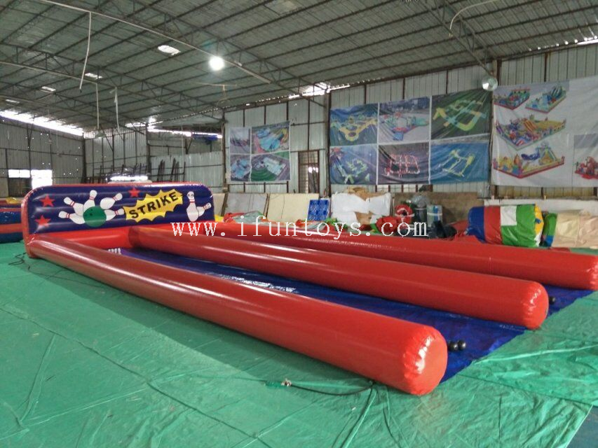 Inflatable bowling pin lanes /giant inflatable double lane bowling set alley sport games / inflatable bowling shooting sports