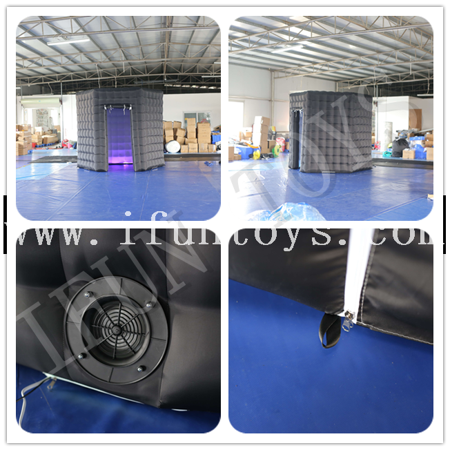 Black Inflatable Hexagonal Photo Booth with LED Light / Inflatable Photo Booth Enclosure for Photography