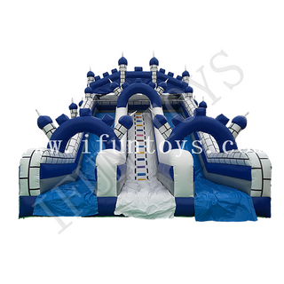 Double Lanes Inflatable Castle Slide / Outdoor Inflatable Dry Slide for Amusement Park