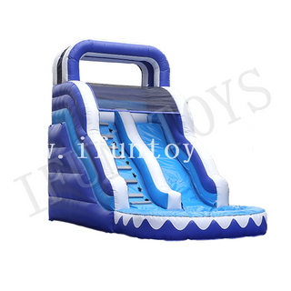 Inflatable Blue Water Slide with Pool / Background Waterslide Inflatable for Kids