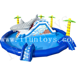 Inflatable Shark Waterpark / Aquatic Playground / Crane Pool Inflatable Water Park