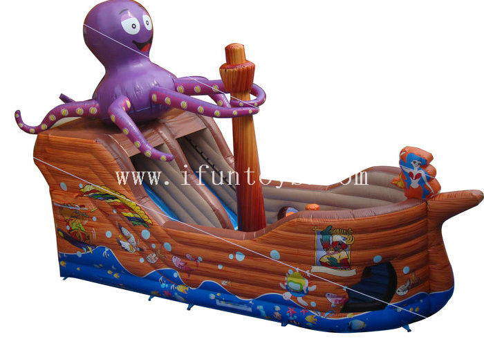 Brown Octopus Inflatable Obstacle Course Ship Inflatable Obstacle With Slide for kids game