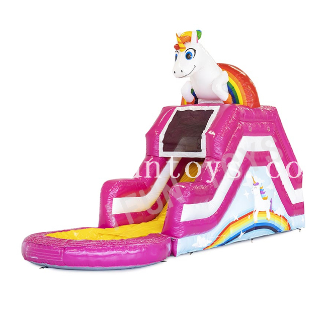 Inflatable Unicorn Slide with Pool / Small Garden Slide for Kids