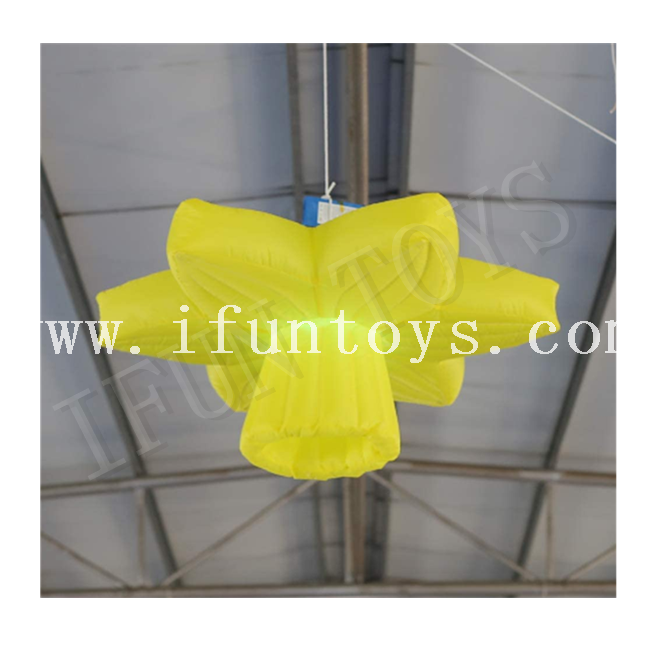 Inflatable Hanging Narcissus Flower with LED Light / Yellow Daffodil Flower Ceiling Decoration for Event