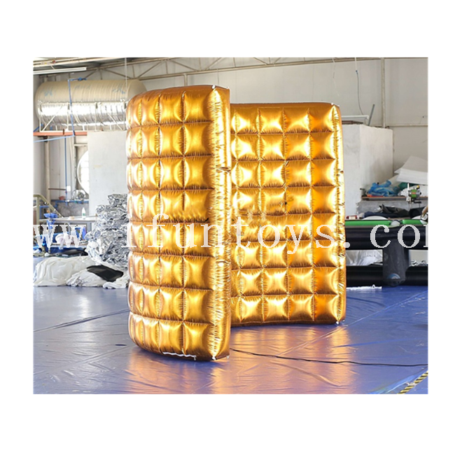 Gold Inflatable LED Light Curved Wall for Event Inflatable Portable Photo Booth Wall