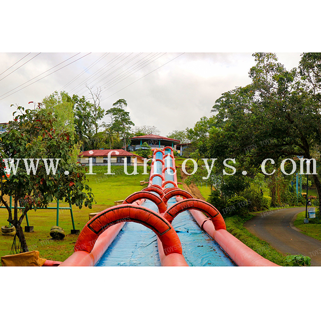 Giant Double Lanes Inflatable Slip N Slide Inflatable Tunnel Water Slide with Pool Resort Inflatable Slippery Water Slide for Kids