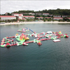 Large entertainment inflatable aqua fun floating water park in the lake / sea for a family summer