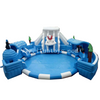 Kids playground inflables tobogan ocean theme water park polar bear penguin inflatable water slide with swimming pool