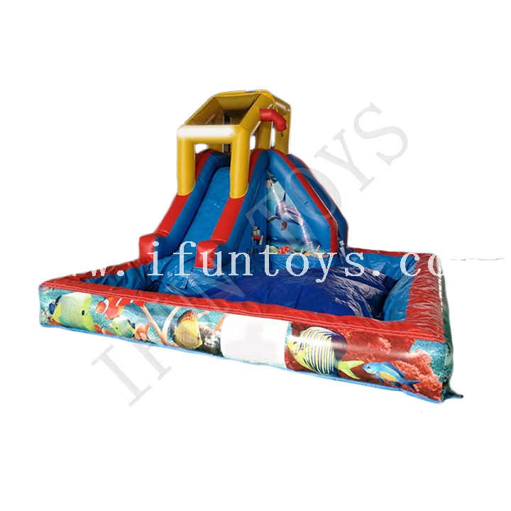 Inflatable Water Slide Park/ Water Slide with Pool Water Playground for Kids