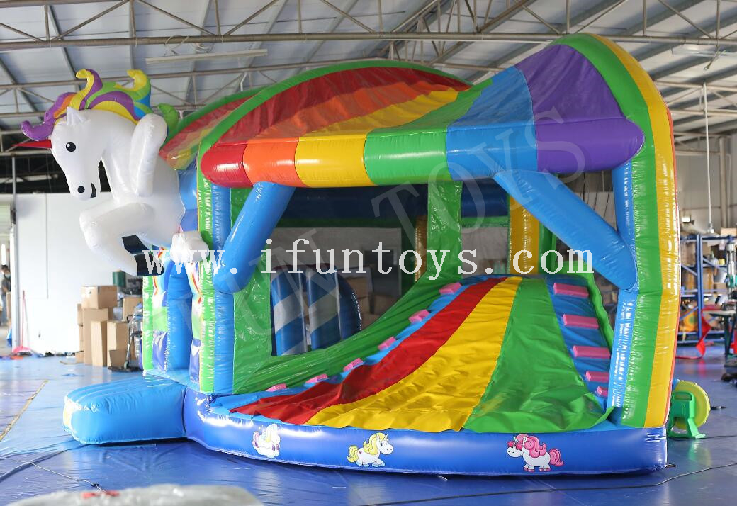 Inflatable Unicorn Bouncy Slide / Bounce House Jumping Castle with Slide for Kids