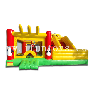 Kids Combo Inflatable Bouncer with Slide / Penguin Inflatable Jumper Bouncer House with Air Blower