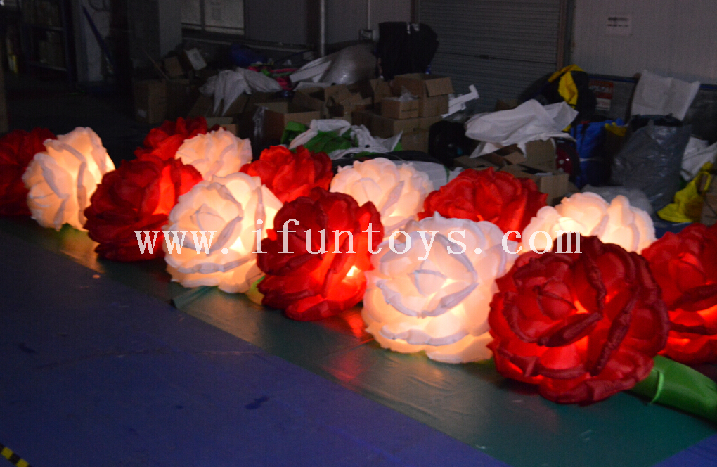 Wedding Road Decoration Inflatable Flower Chain/inflatable led lighting rose flower for sale