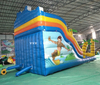 Outdoor inflatable palm tree beach slide/ inflatable twin drop dry slide /inflatable tropical bouncy castle combo slide for kids