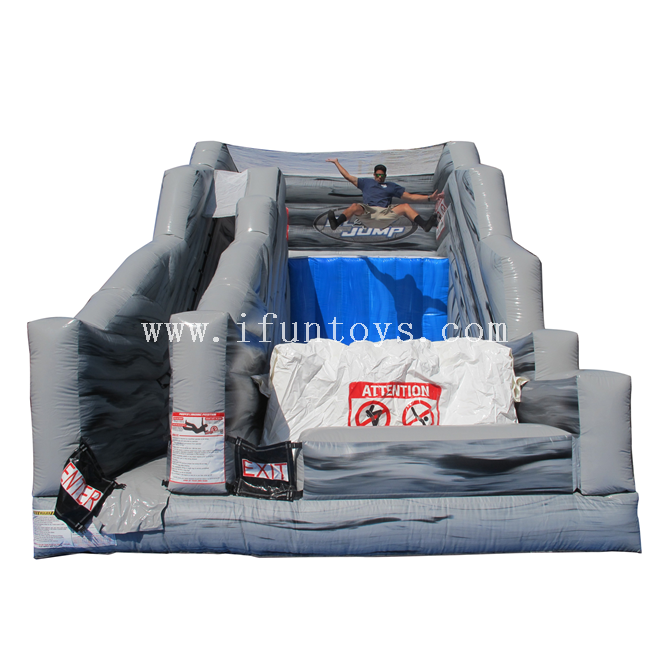 Commerical outdoor inflatable cliff jump slide/ inflatable dry slide/inflatable jump off with bag for kids and adults