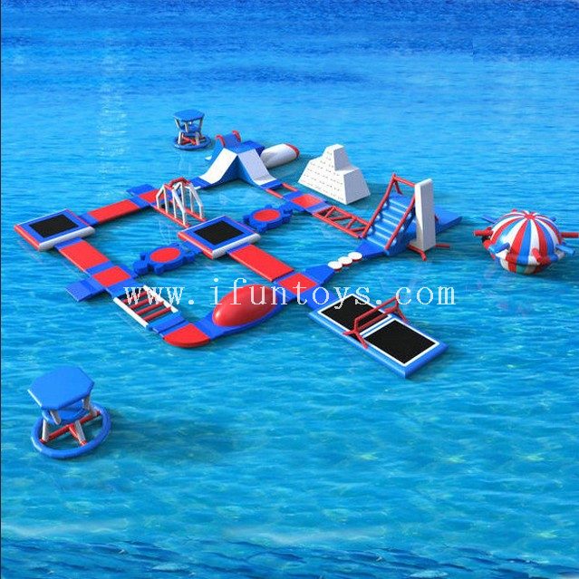 High quality 0.9mm pvc tarpaulin lake inflatable water park obstacle courses aqua fun resort waterpark