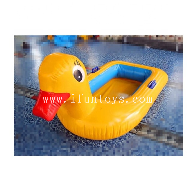 Cheap inflatable yellow baby duck seat boat swimming pool float water toys for kids