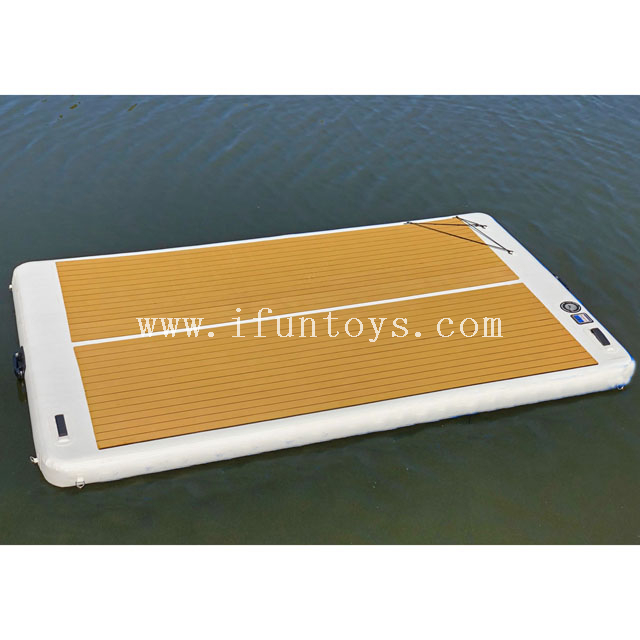 New inflatable leisure land pontoon boat standing platform floating yacht dock water swim platform for jet ski sport boats