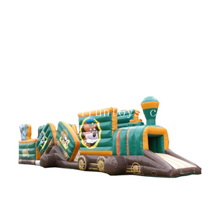 Customized Caterpillar jungle Train Inflatable Obstacle Course /inflatable train tunnel Jumping Castle Obstacle Course