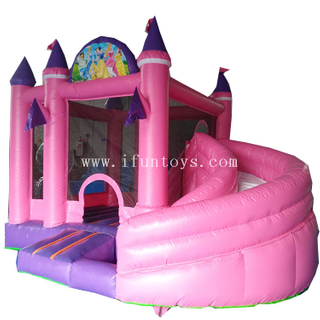 New design inflatable Pink princess bouncy castle combo /inflatable bounce house with slide for kids
