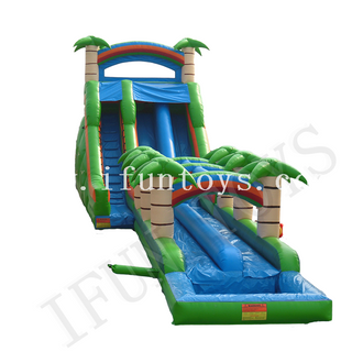 Tropical Theme Inflatable Palm Tree Water Slide with Pool / Wet Slide with Air Blower