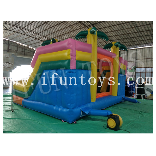 Palm Tree Inflatable Castle Slide Combo / Fun City Inflatable Playground for Kids