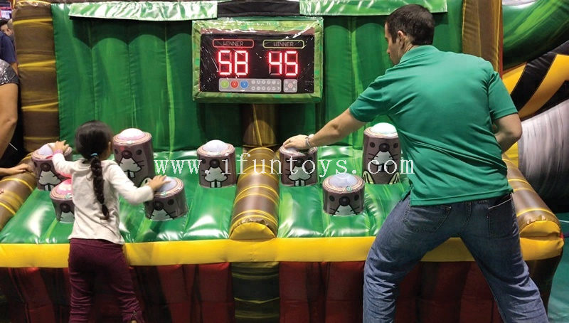 Battle Light Challenge Inflatable Zap A Mole Carnival Game, Inflatable Whack-A-Mole Game with IPS System