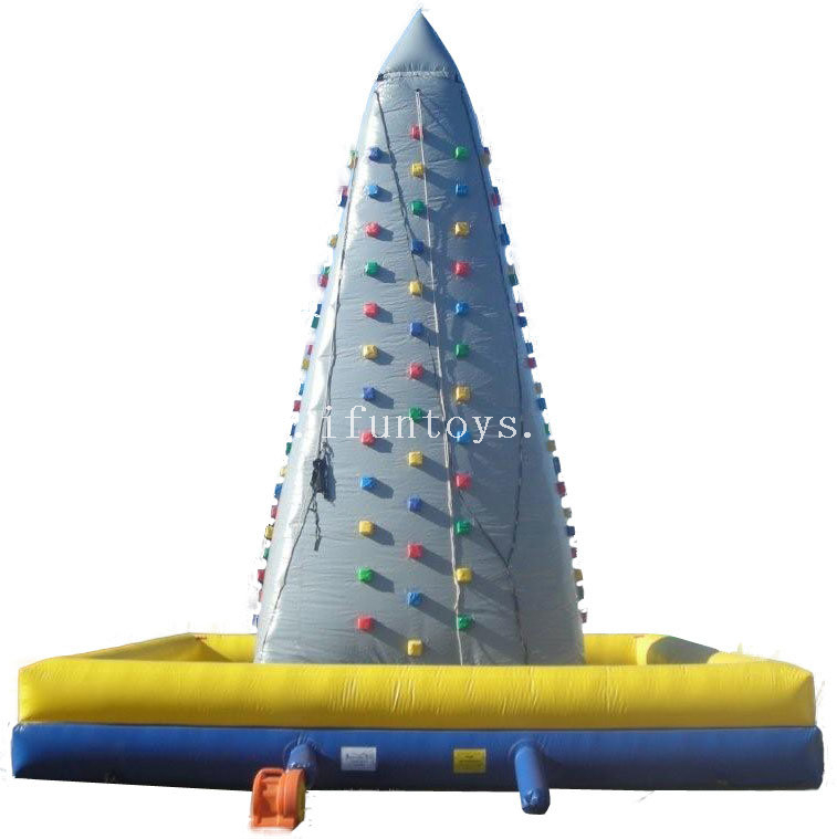 New finished yellow color commercial Inflatable playgrounds rock climbing wall for sport games