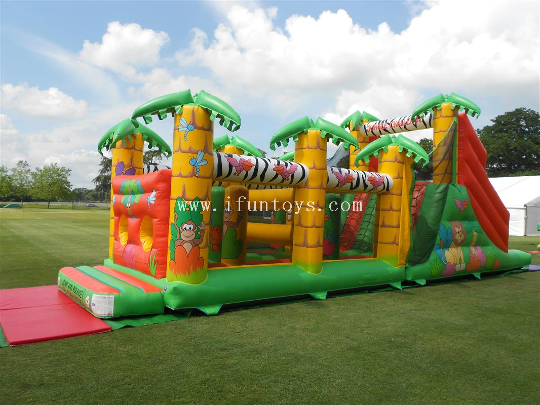 New design Jungle Inflatable race obstacle bouncer course / run inflatable combo obstacle course for sale