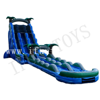 Palm Tree Inflatable Water Slide with Pool / Screamer Waterslide / Slip And Slide for Kids And Adults