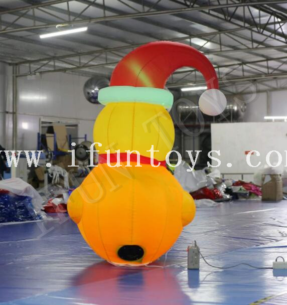 LED Light Inflatable Yellow Duck with Christmas Hat for Christmas Decoration