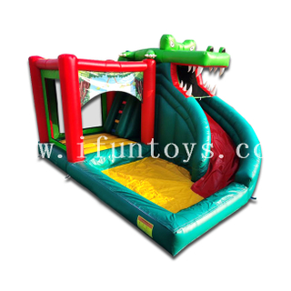 Crocodile Themed Inflatable Slide Bouncer with Pool / Crocodile Bouncy House with Slide for Kids