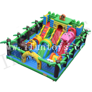 Animal Theme Inflatable Amusement Park / Zoo Fun City Park / Inflatable Jumping Playground for Kids