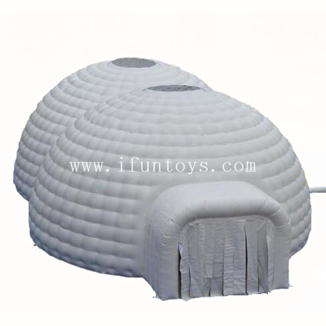 Outdoor 2 domes combined inflatable wedding lawn igloo tent for events