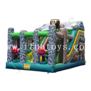 Animal Theme Inflatable Dry Slide / Inflatable Bouncy Playground Slide / Outdoor Slide Game