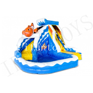 Splashy Clownfish Inflatable Water Slide / Inflatable Bouncer with Pool / Outdoor Playground Water Park for Kids