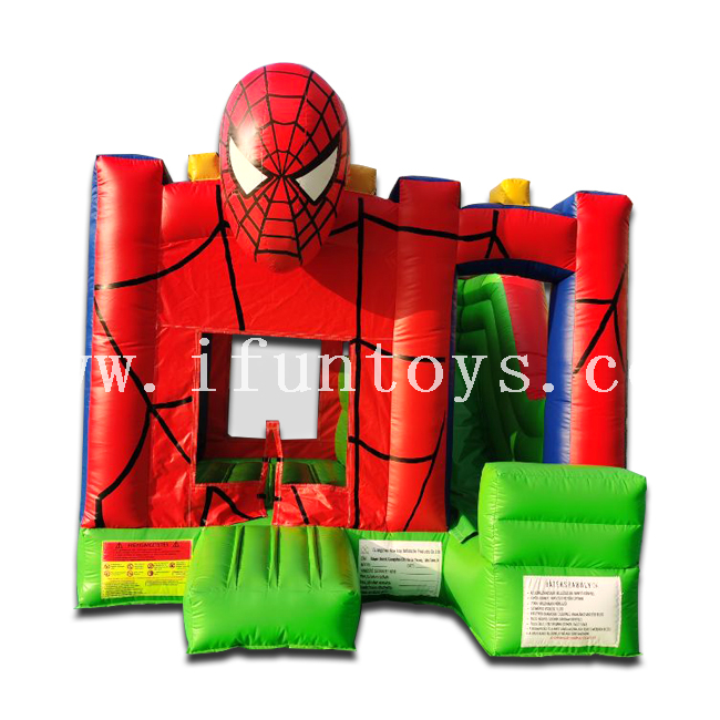 Attractive Spiderman Cartoon Pvc Inflatable Bouncy Castle Bouncer Combo Jumping House for Amusement Park