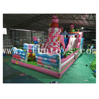 Peppa Pig Inflatable Jumping Castle / Inflatable Slide Fun City / Outdoor Amusement Park Playground