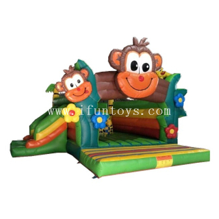 Inflatable Monkey Bouncy / Monkey Jungle Inflatable Jumping Castle with Slide / Inflatable Clubhouse for Kids
