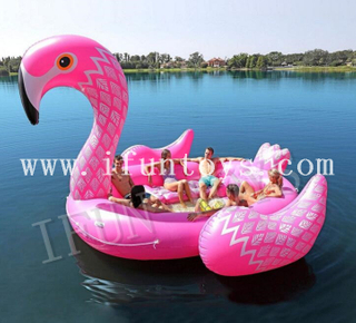 Pool Toys Inflatable Pink Flamingo Floating Island for 6 Persons