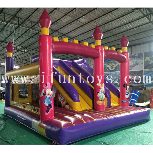 Most popular inflatable Mickey Mouse jumping bouncy castle with slide/inflatable Mickey bouncer combo /inflatable bouncer house for kids