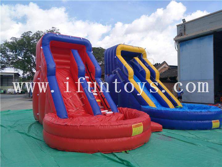 Cheap Inflatable Water Slide / Slip Slide with Swimming Pool for Kids