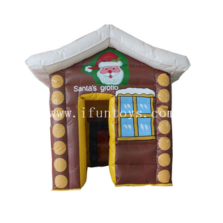 Most popular inflatable santa claus house/inflatable santa's grotto tent/Inflatable Santa's Cabin for Christmas Decoration