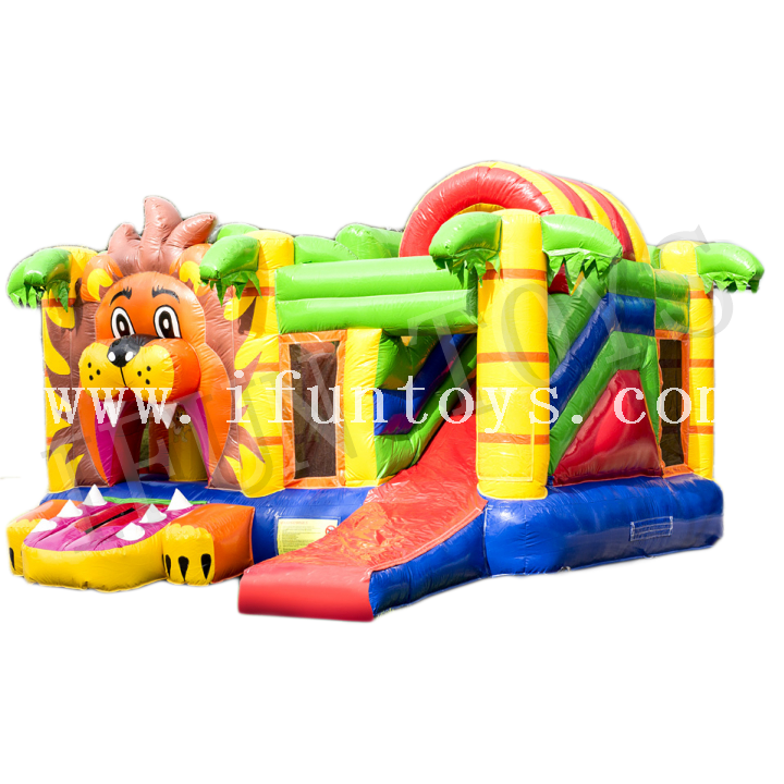 Inflatable Lion Bouncer / Kids Inflatable Moonwalk Combo / Jumping Castle with Slide for Sale