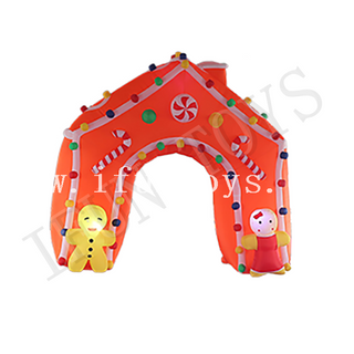Outdoor Inflatable Gingerbread House Arch / Candy House Entrance Archway for Christmas
